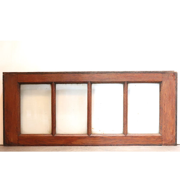French Solid Oak and Glass Rectangular Door Transom