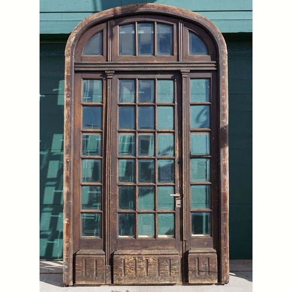 French Oak and Beveled Glass Single Door Entry, Arched Transom and Sidelights