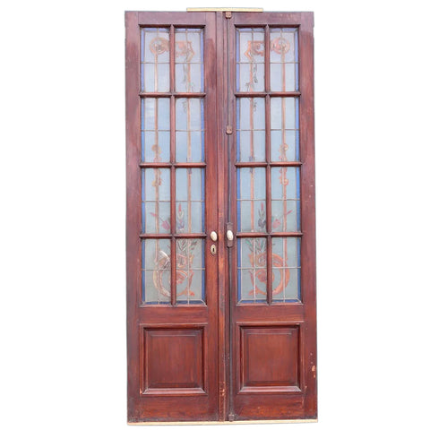 Argentine Beaux-Arts Mahogany Leaded and Painted Glass Double Door