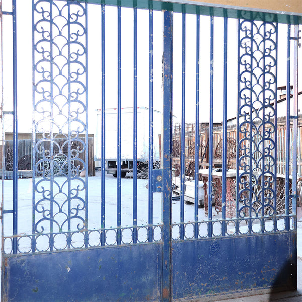 Very Large Argentine Art Deco Blue Painted Wrought Iron and Bronze Double Door Driveway Gate