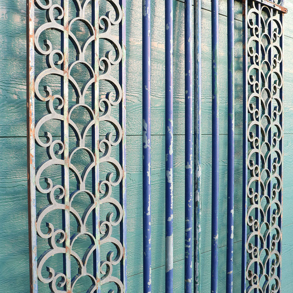 Pair Argentine Art Deco Blue Painted Bronze and Wrought Iron Sidelights and Trim