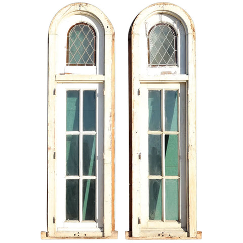 Pair of Argentine Leaded Glass and Painted Cedro Mahogany Arched Windows