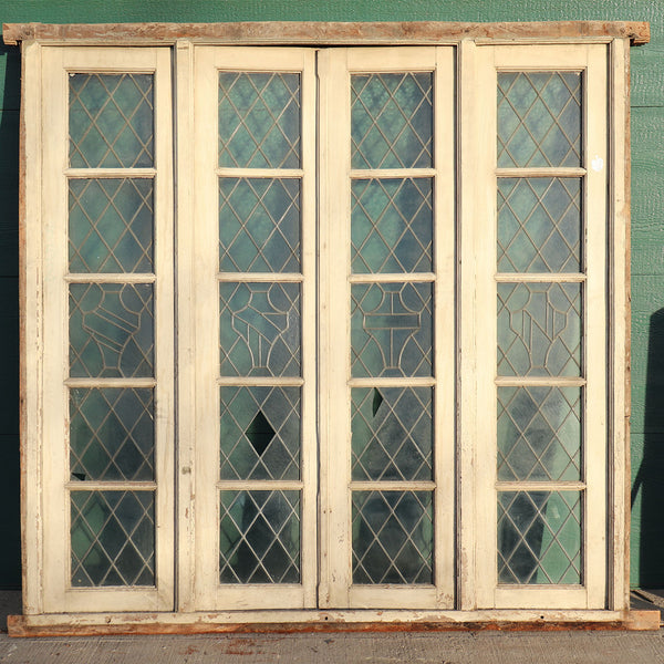 Set of Four Argentine Leaded Glass Diamond and Shield Pane Cedro Mahogany Windows