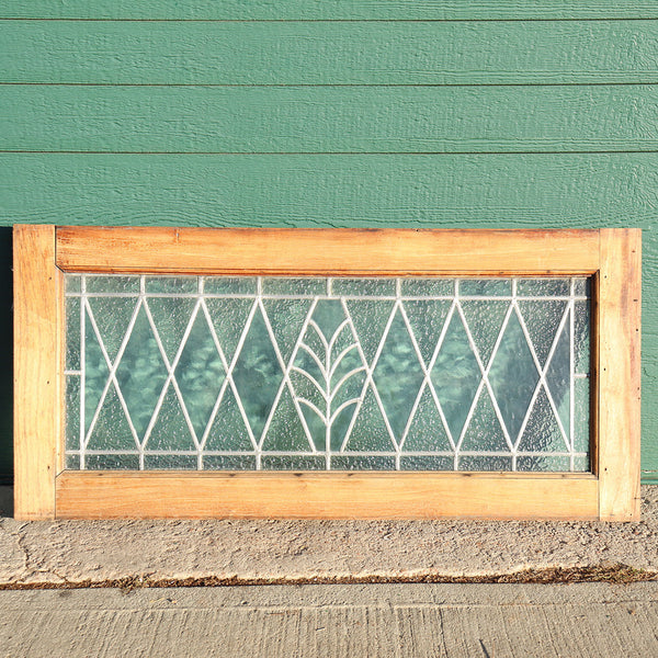 Argentine Leaded Diamond Pane Glass and Mahogany Window Transom
