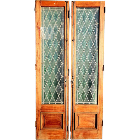 Argentine Leaded Diamond Pane Clear Glass and Cedro Mahogany Double Door