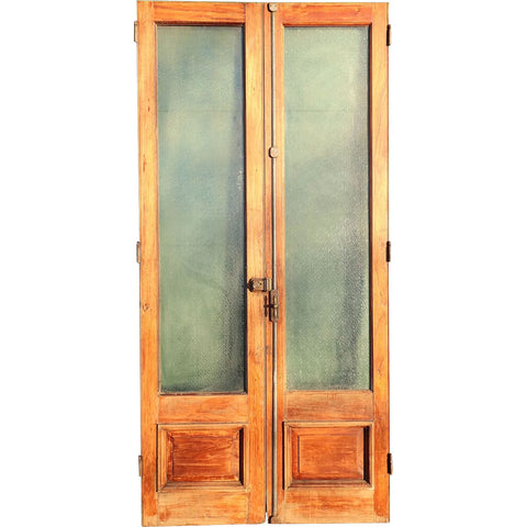 Large Argentine Textured and Frosted Glass and Cedro Mahogany Double Door