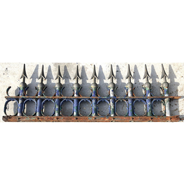 Argentine Blue Painted Bronze and Wrought Iron Fence Trim Panel