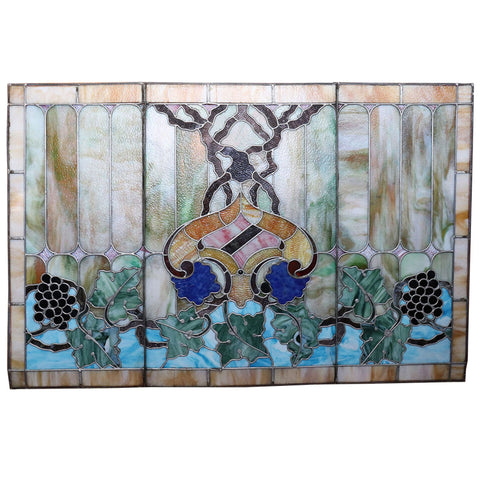 American Art Nouveau Shirley-Savoy Hotel Opalescent Stained Glass Window