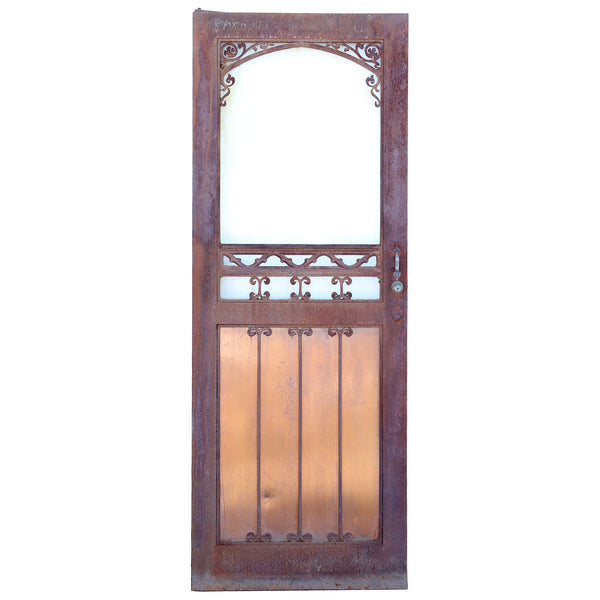 Vintage American Gothic Revival Hammered Iron, Copper and Glass Single Door