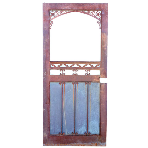 Vintage American Gothic Revival Hammered Iron and Glass Single Door