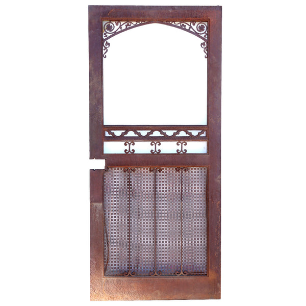 Vintage American Gothic Revival Hammered Iron and Steel Screen Single Door