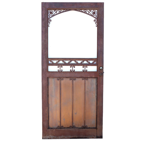 Vintage American Gothic Revival Hammered Iron, Copper Single Door