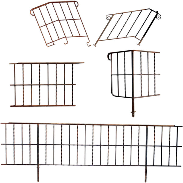 Five Vintage American Wrought Iron Railings