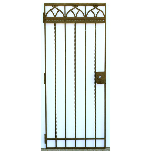 Large American Gothic Revival Mountain States Telephone Building Wrought Iron Single Gate Door