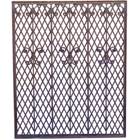 American Mountain States Telephone Building Wrought and Hammered Iron Grille Panel
