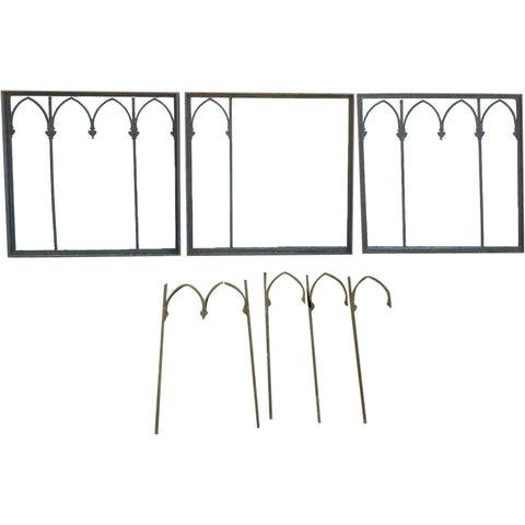 Five American Gothic Revival Wrought Iron Window Grille Panels
