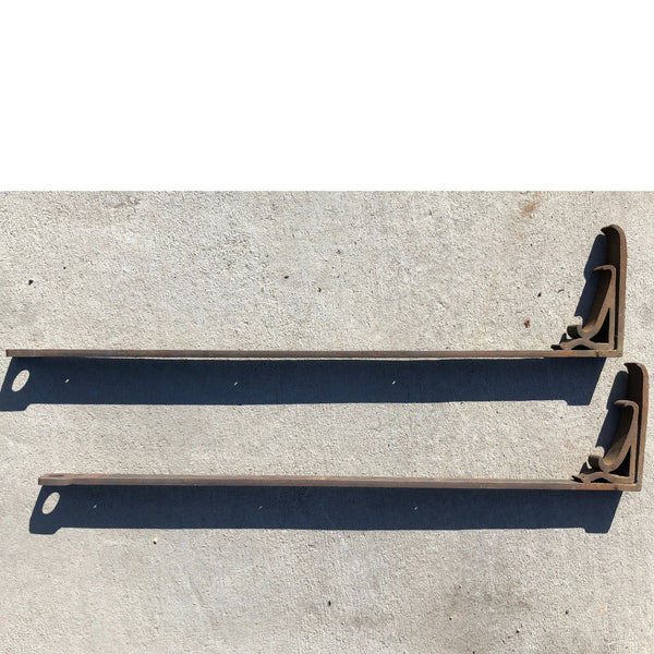 Large Pair of American Gothic Revival Wrought Iron Shelf Brackets