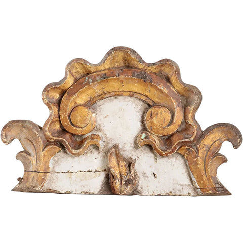 Small Indo-Portuguese Baroque Gilt and Painted Teak Architectural Altar Cornice