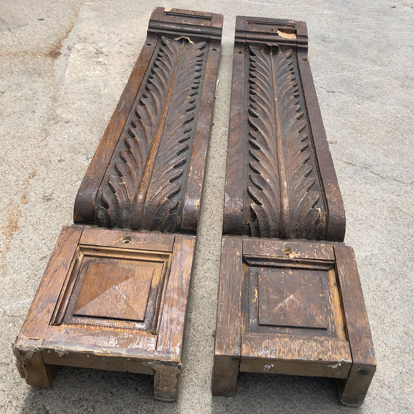 Pair of Large American Victorian Oak Architectural Brackets