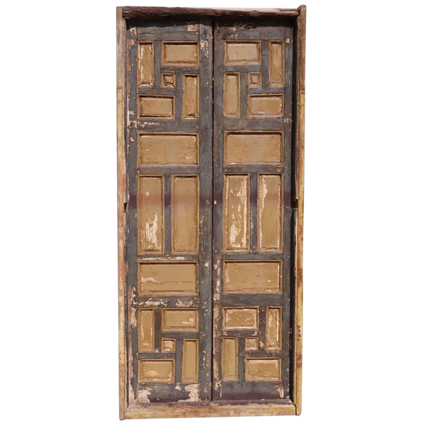 Pair of Spanish Baroque Style Painted Pine Paneled Window Shutters and Frame
