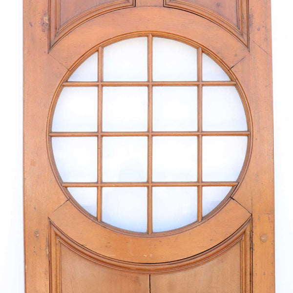 American Faded Mahogany Paneled and Round Glass Window Single Door
