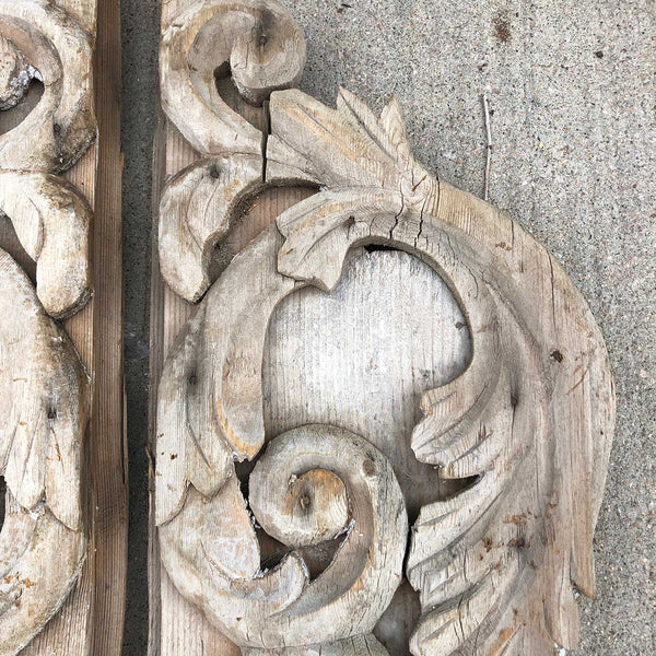 Pair of American Victorian Painted and Pine Foliate Scroll Architectural Carvings