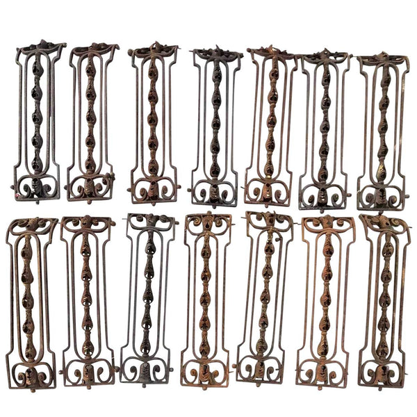 Set of 14 French Beaux Arts Wrought and Forged Iron Staircase Balusters