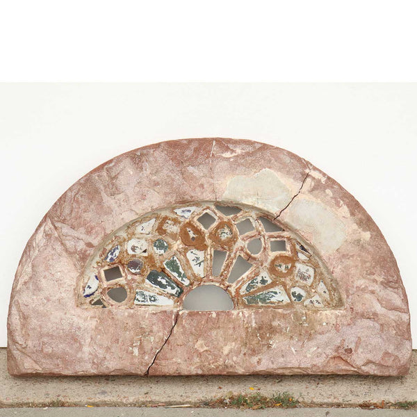 Indian Limestone and Glass Jali Arched Transom Window