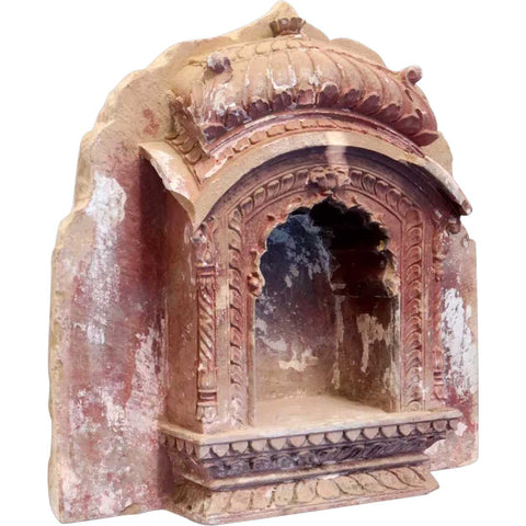 Fine Northern Indian Red Painted Limestone Architectural Built-In Wall Niche