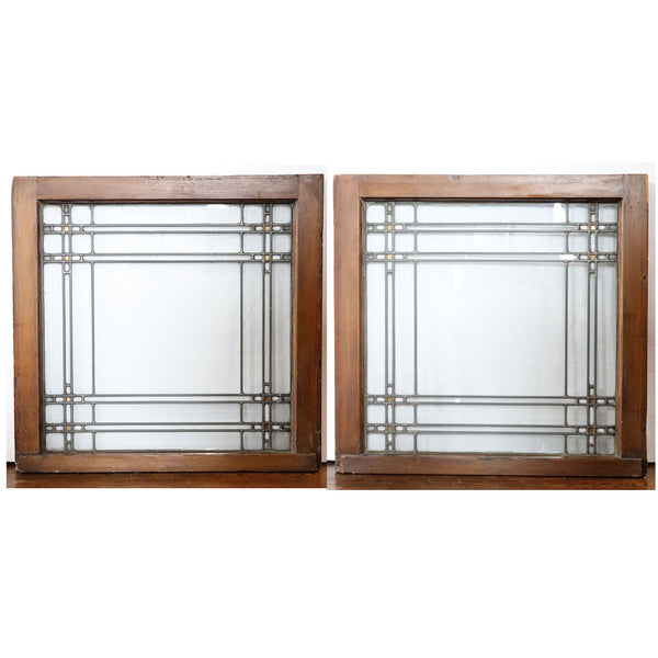 Pair of Small American Chicago Arts and Crafts Leaded and Stained Glass Windows