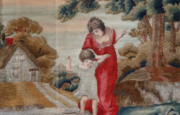 English Needlework Scene after HENRY THOMSON, Crossing the Brook