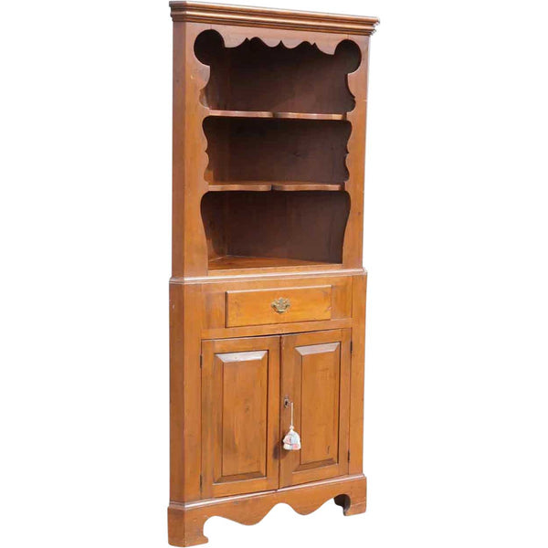 Vintage Tall Pine Open Display Corner Cabinet
