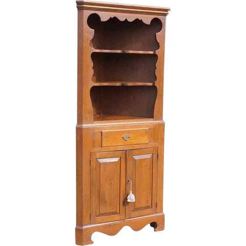 Vintage Tall Pine Corner Open Display Cabinet