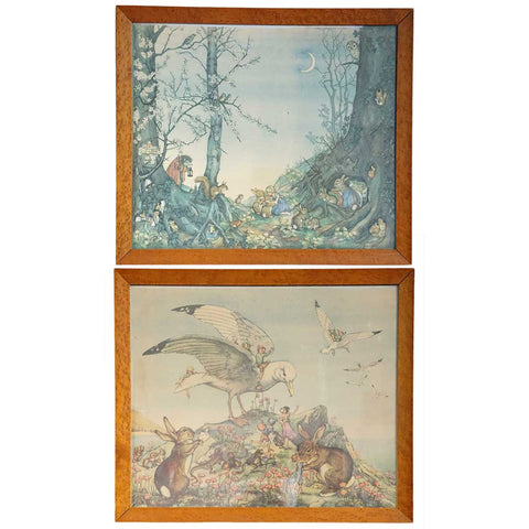 Pair of Vintage English MOLLY BRETT Chromolithographs, Children's Book Illustrations