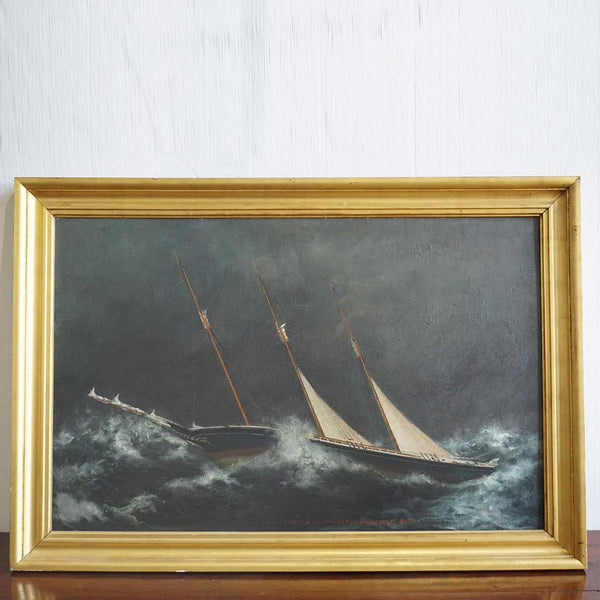 American New England Oil on Canvas on Board Painting, Schooner Geo V. Jordan in a Hurricane