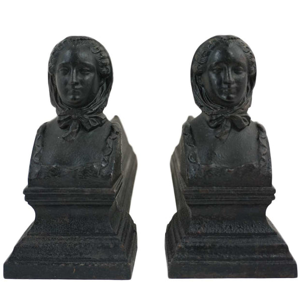 Pair of French Cast Iron Figural Fireplace Andirons