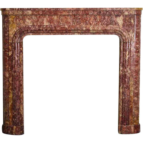 French Art Deco Spanish Brocatelle Marble Fireplace Surround