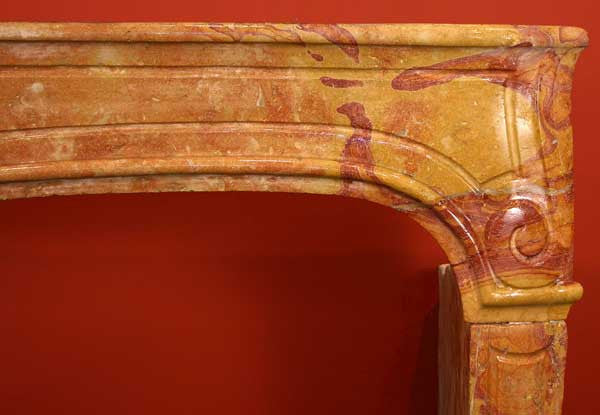 French Louis XV Bourguignon Stone Fireplace Surround