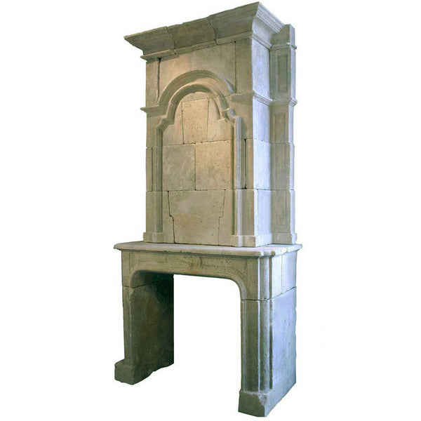 French Louis XIV Limestone Fireplace Surround and Overmantel