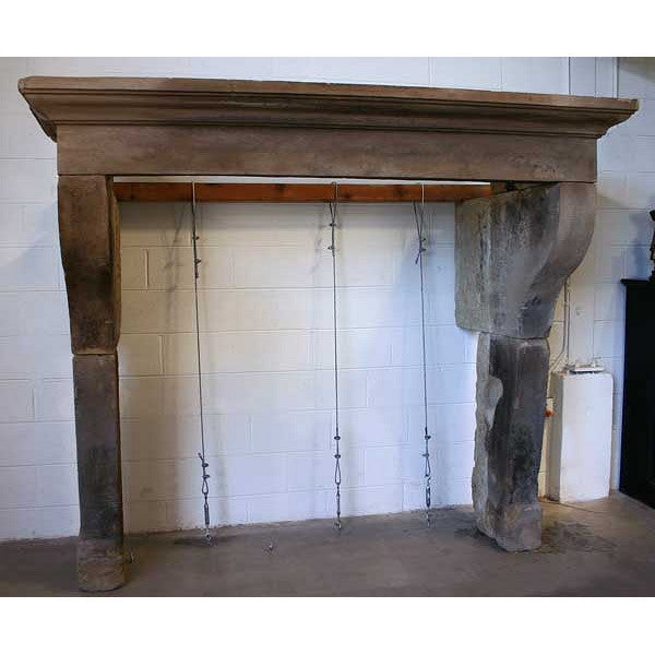 French Louis XIII Style Limestone Fireplace Surround Mantel