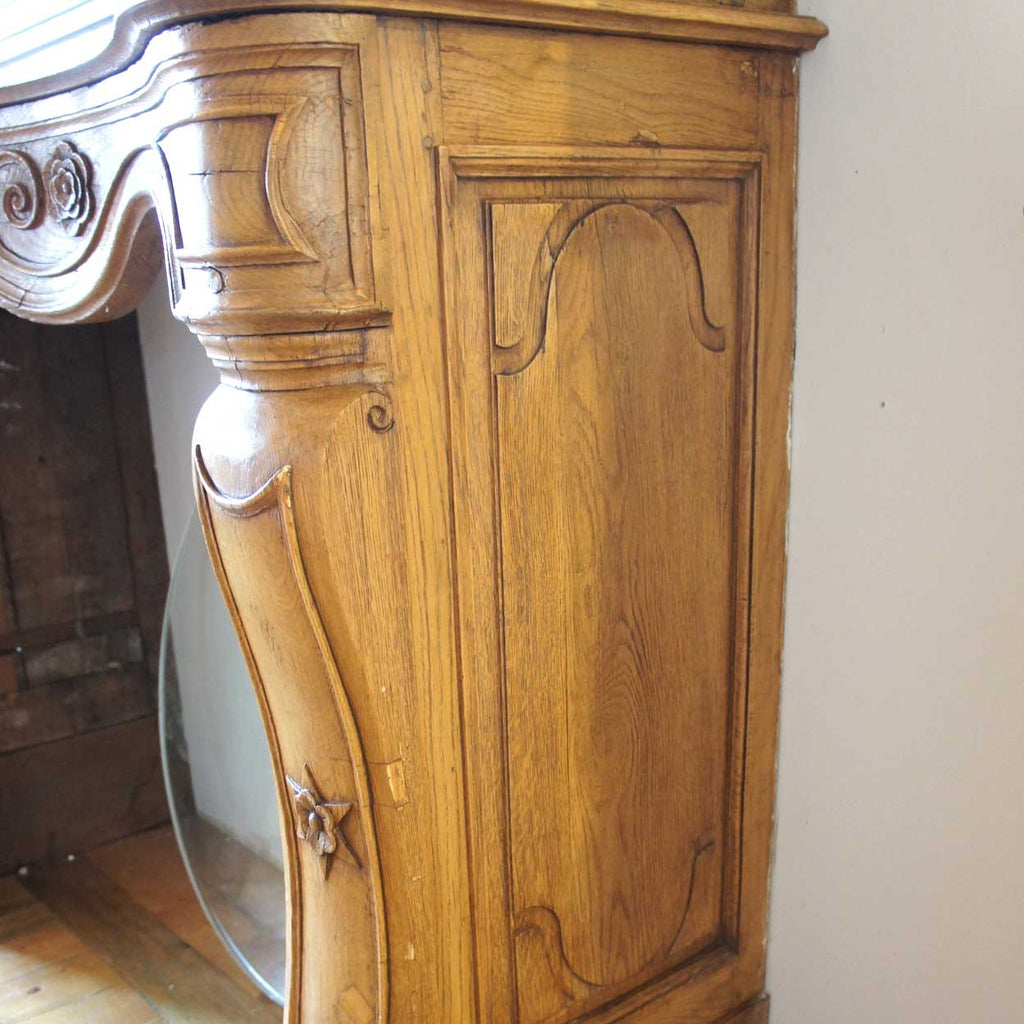 antique french provincial louis xv oak fireplace surround and