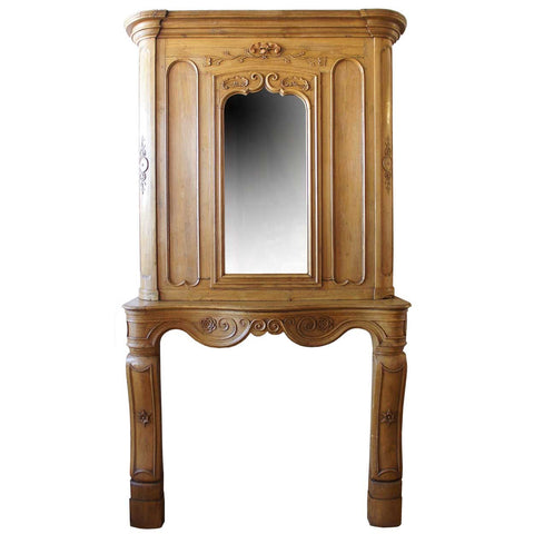 French Provincial Fanny Brice Mansion Louis XV Oak Fireplace Surround and Mirrored Overmantel