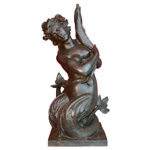After PROVIN SERRES Val d'Osne Cast Iron Siren Mermaid Fountain Sculpture