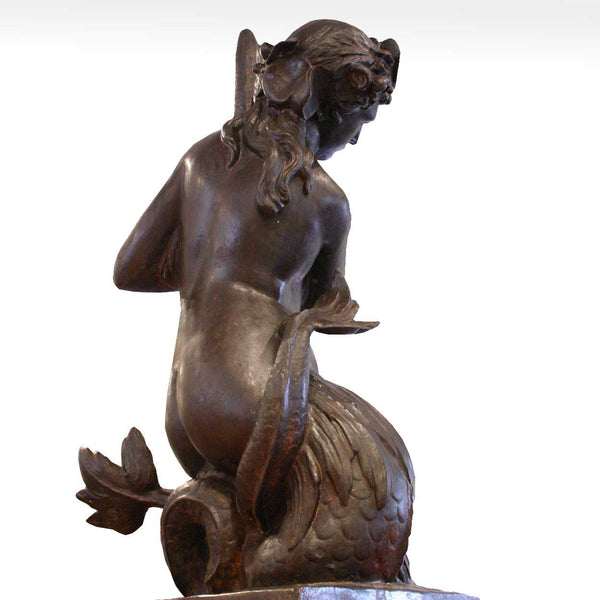French Neoclassical Cast Iron Mermaid Fountain Figure
