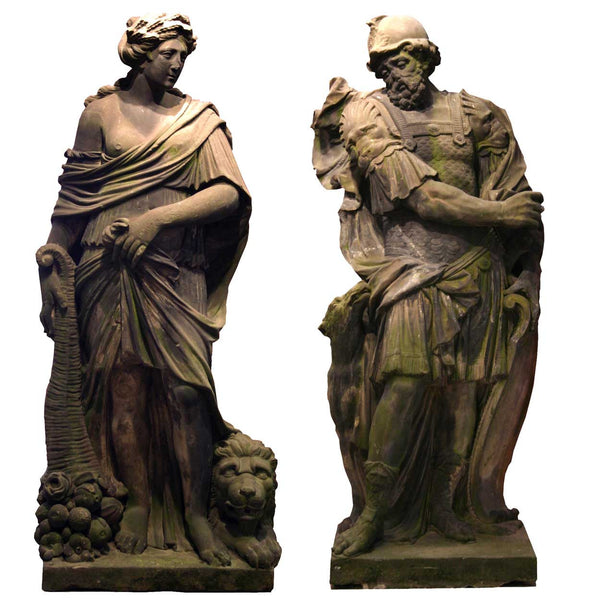 Pair of Flemish Baroque Gritstone Statues of Mars and Ceres