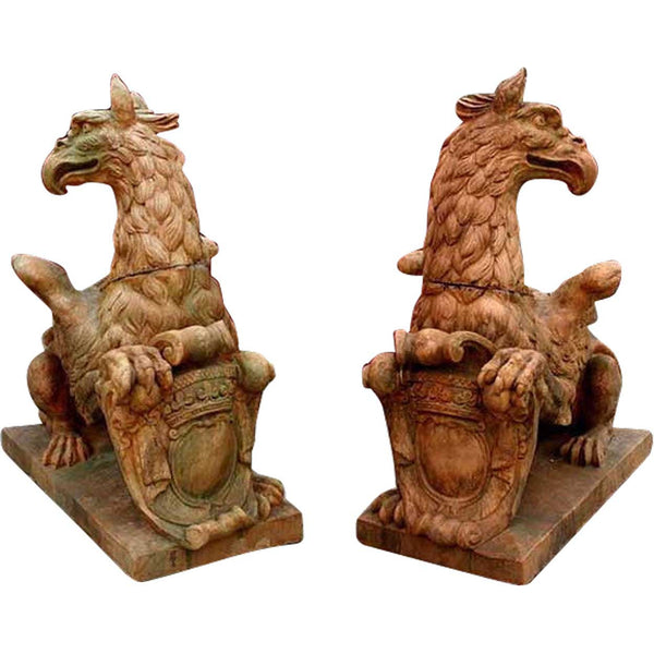 Pair of Grand French Virebent Brothers Terracotta Pottery Griffins