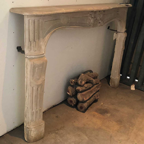 French Parisian Louis XV Style Limestone Fireplace Surround