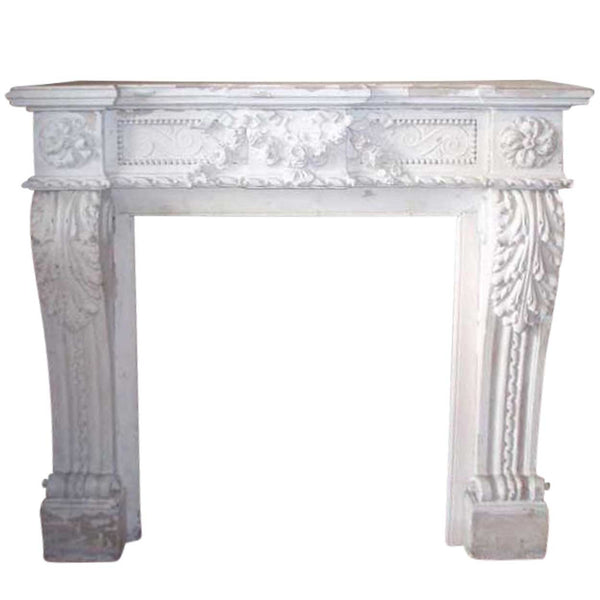 Small French Louis XVI White Painted Limestone Fireplace Surround