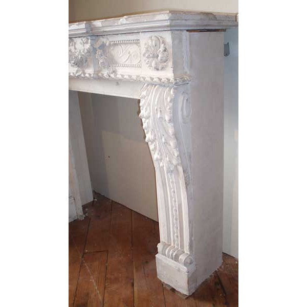 Antique French Louis XVI Painted Limestone Fireplace Surround ...