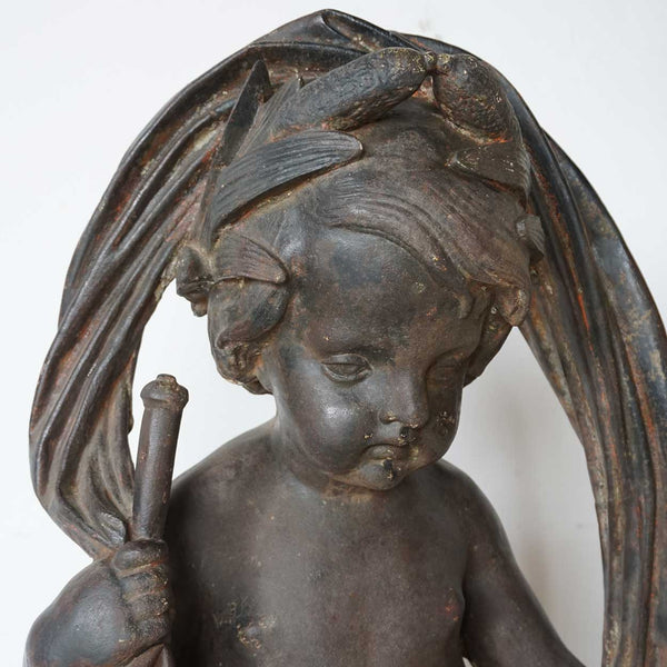Large French J.J. Ducel Cast Iron Figural Garden Fountain